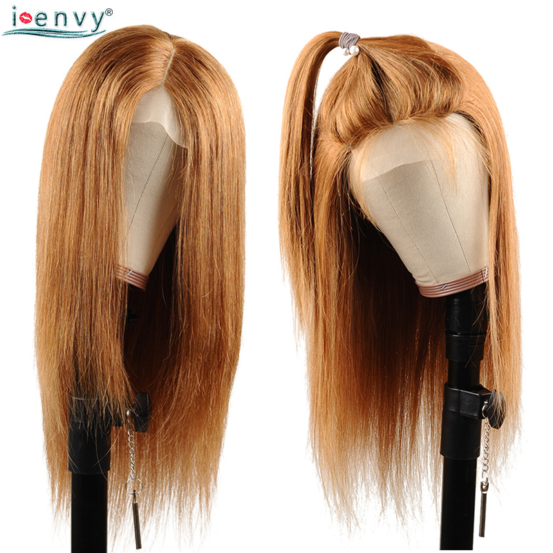 Ienvy Gold Blonde Lace Front Human Hair Wigs 150% Density Brazilian Straight Lace Front Wig For Black Woman Colored Wigs Nonremy