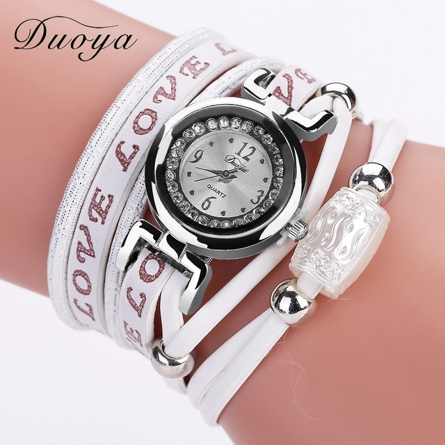 Duoya Brand Hot Sale Luxury Watch Fashion Women Silver Bracelet Watch Vintage Casual Quartz Love Wristwatch Women Watches Clock