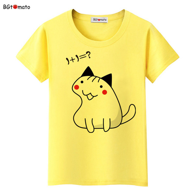 8c28d933f BGtomato lovely hand print fat cat shirts cool smart cat cute design shirts  for women Brand good quality casual tops tees