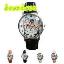 Bowaiwen #0046 женщина часы мода Кот Pattern Кожаный Ремешок Аналоговый Кварц Vogue Наручные Часы