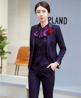 High Quality Fabric 3 Piece Sets With Pants and Jackets and Waistcoat & Vest Sets For Ladies Office Work Wear Blazers OL Styles