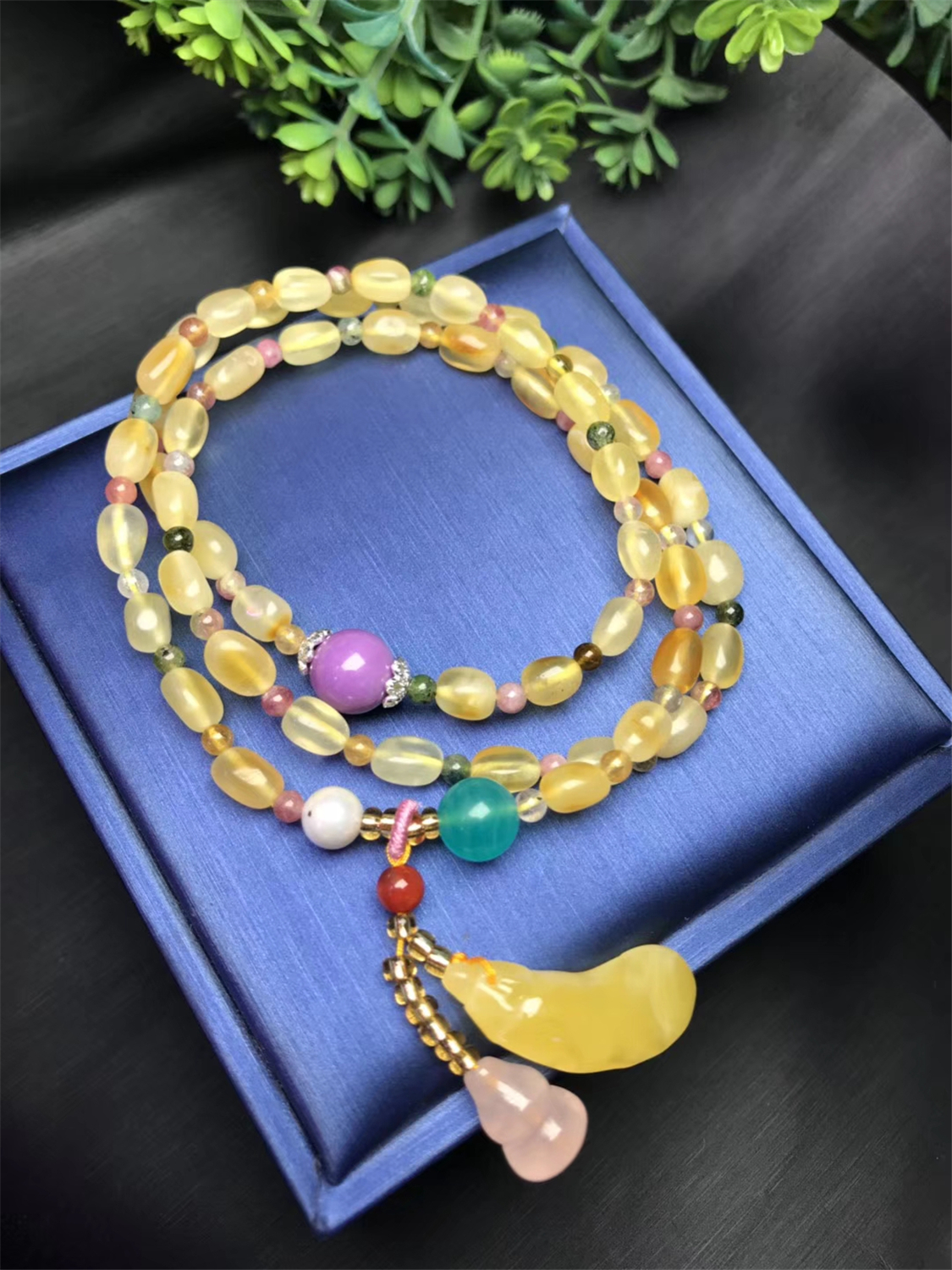 Koraba Fine Jewelry Natural Honey Wax Pendant with Natural Purple Mica Amazon Stone lapis lazuli Grape stone BraceletKoraba Fine Jewelry Natural Honey Wax Pendant with Natural Purple Mica Amazon Stone lapis lazuli Grape stone Bracelet