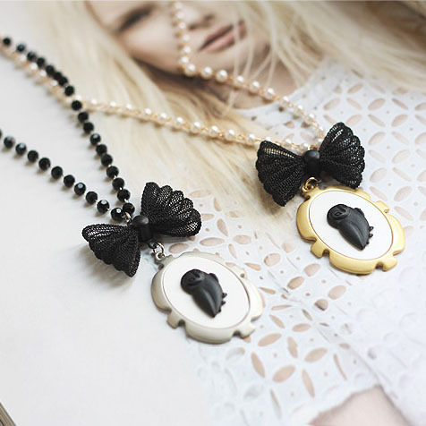Black Crystal Chain White Pearl Necklace Black Butterfly Knot Owl Pendant Women Jewelry  Sweater Coat Chain