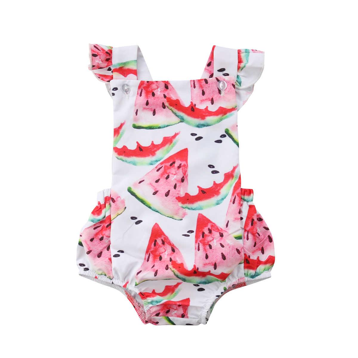 c0d20c6c97a8 Cute Fruit Newborn Baby Girls Toddler Rompers Summer Watermelon Print  Sleeveless Jumpsuit Playsuit Cotton Baby Girls
