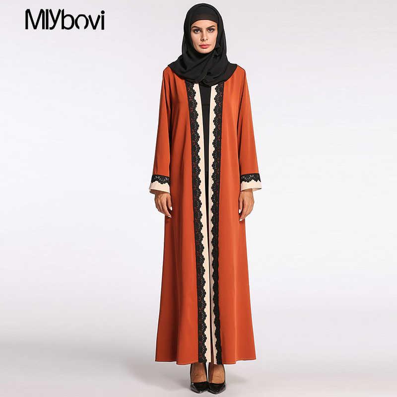 29ac3ca550 ... Orange 2XL Abaya Muslim Women Fashion Lace Robe Long Print Ladies  Clothing Women Arab Ladies Malaysia ...