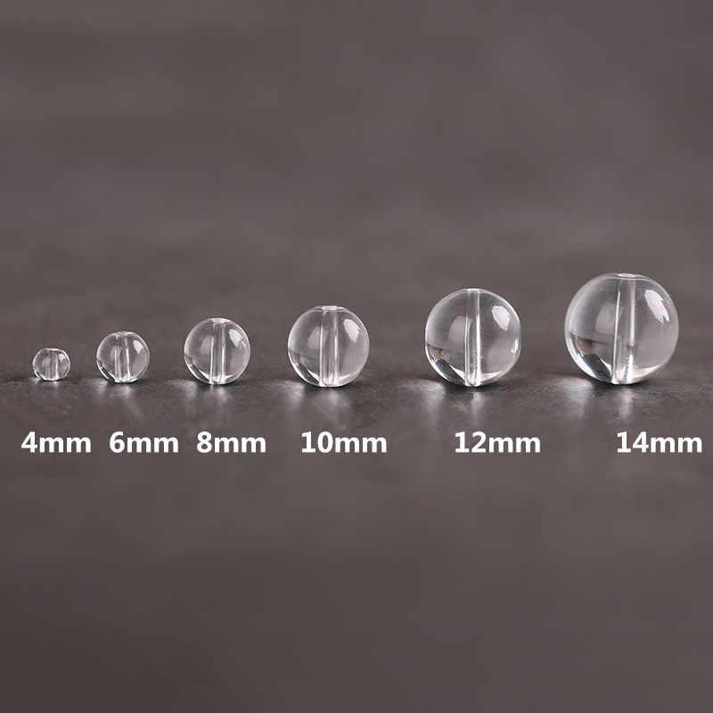 Kryształ przezroczysty biały paciorki szklane 4/6/8/10/12/14mm okrągłe luźne paciorki szklane do tworzenia biżuterii DIY bransoletka naszyjnik z koralikami