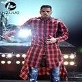 Hot Sale New Extended Long High Low Side Zipper Unisex Man Swag Shirt Tshirt T Shirt Hip Hop Men Streetwear Hem Plaid Blue Red