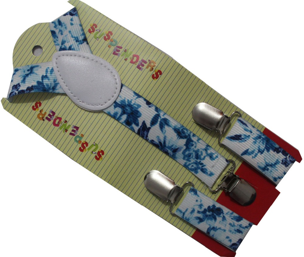 Free Shipping 2019 New 2.5cm Wide Fashionable Kids Children White Blue Flower Suspenders For Girls