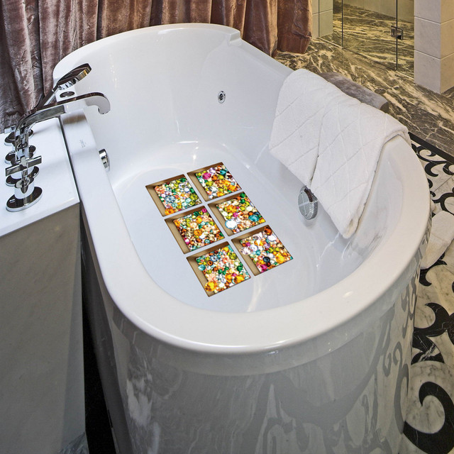 Nuovo Divertente Vasca Da Bagno sticker 6 pz 13x13 cm Del Fumetto Pattern3D Antiscivolo Vasca Da Bagno Appliques Bagno Decalcomania del PVC Murale per la casa della decorazione Calda