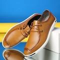 2017 Primavera Zapatos Masculinos de Ocio Tiempo Solo Zapato Ventilación Hombre Zapatos de Cuero Genuino de La Manera de Corea Que