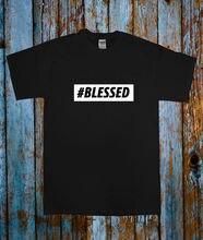 HASHTAG BLESSED POPULAR CELEB TEE T SHIRT TOP BLACK WHITE BLOGGER TUMBLR Fashion Design Free Shipping  Mens Shirts