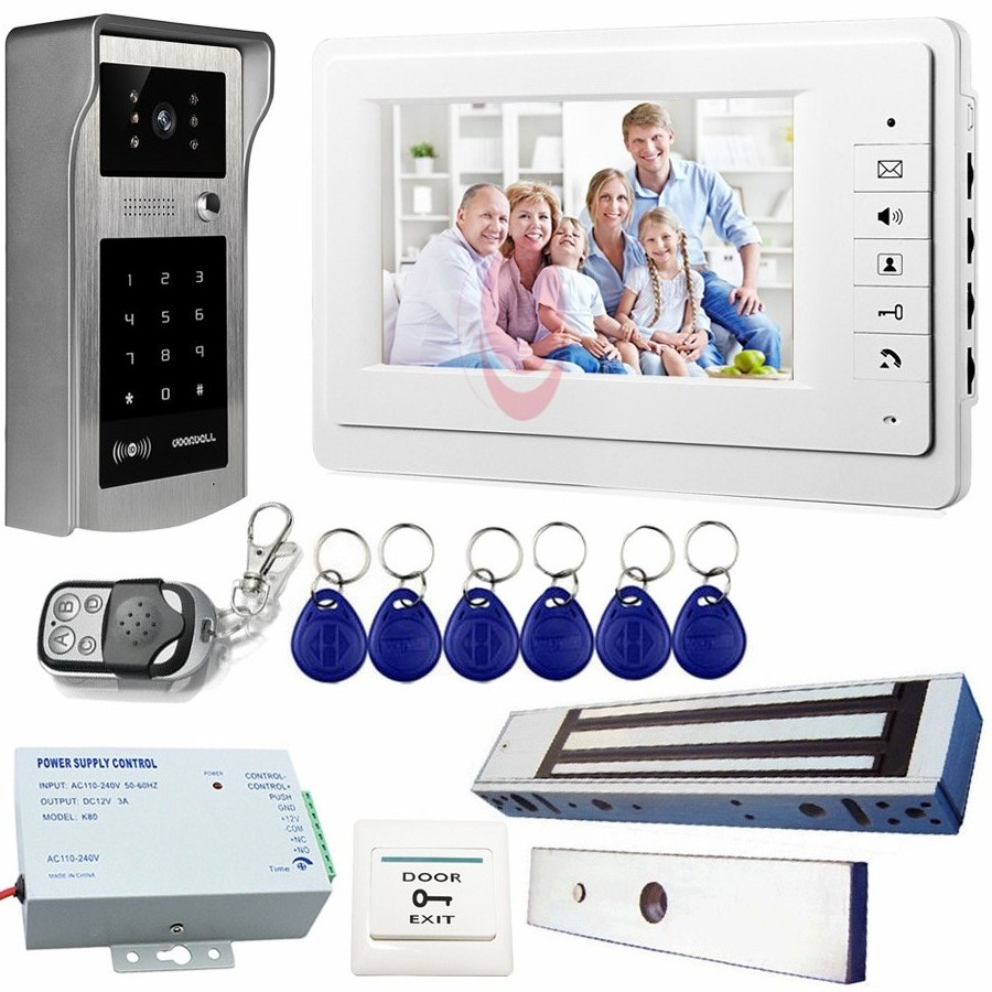 Video Intercom For The Apartment With Magnetic Lock Rfid Cards&Code Open The Door Video Doorphone With IP55 Waterproof Camera the apartment