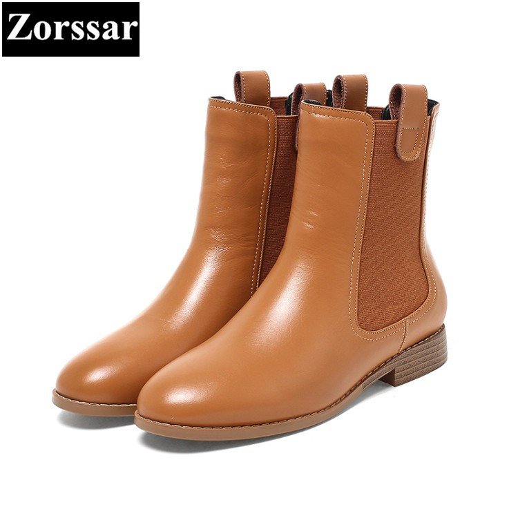 {Zorssar} NEW arrival fashion Casual Flat heel Women Chelsea Boots Round toe flats ankle boots autumn winter female shoes Brown zorssar brands 2018 new arrival fashion women shoes thick heel zipper ankle chelsea boots square toe high heels womens boots