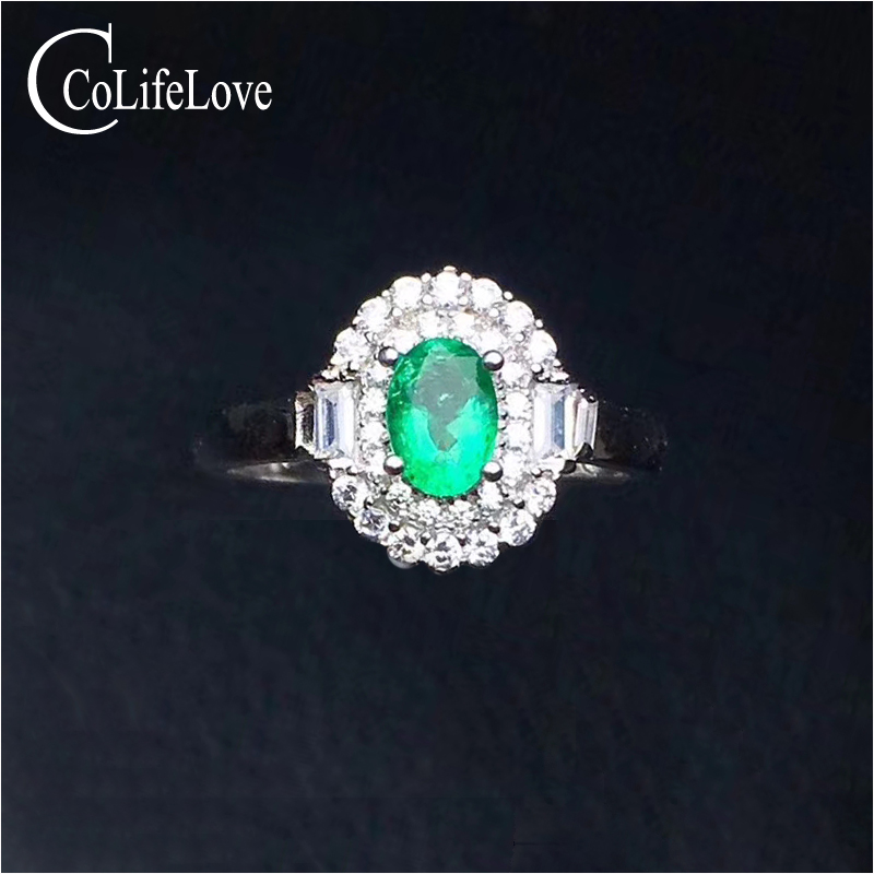 Elegant entry lux style emerald ring for party 4 mm * 6 mm real natural emerald silver ring solid 925 silver emerald jewelry