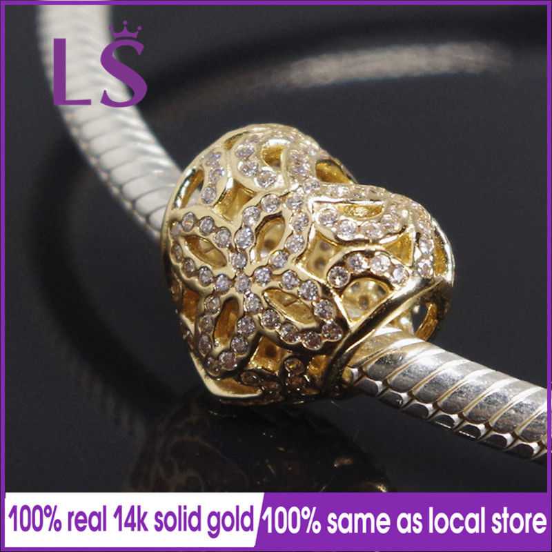 LS New 100% 14&k Real&Solid Gold Love & Appreciation Charm Encantos Fit Original Bracelets Pulseira Berloque 100% Fine Jewelry N