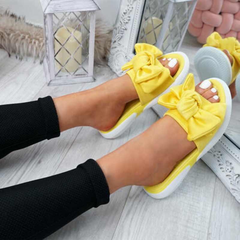 Năm 2019 Nữ Thời Trang Nữ Nơ Đế Giày Slip On Peep Toe Giày Dép Nữ Dép Chaussures Femme