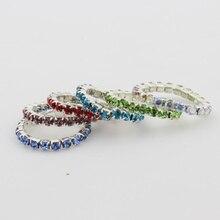 Дизайн арт-12шт упаковка эластичный Кристалл горный хрусталь палец кольца смешанные цвета лоты тело ювелирные изделия Кольца