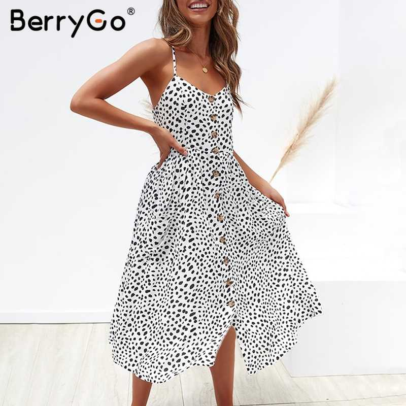 BerryGo элегантное женское платье на пуговицах платья на бретельках платья с карманами платья в горошек Летние повседневные женские платья больших размеров vestidos