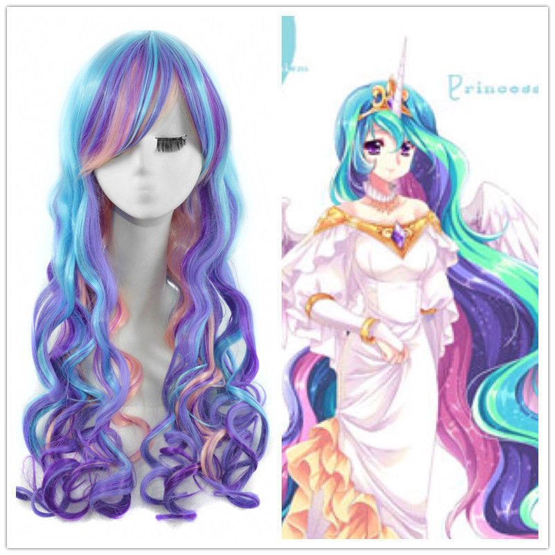 100% Brand New High Quality Fashion Picture hair wigs >>My Little Pony Princess Celestia Cosplay Wig Rainbow Long Curly Hair Wig avenger union 2 thor wig men s long blonde cosplay curly hair wigs