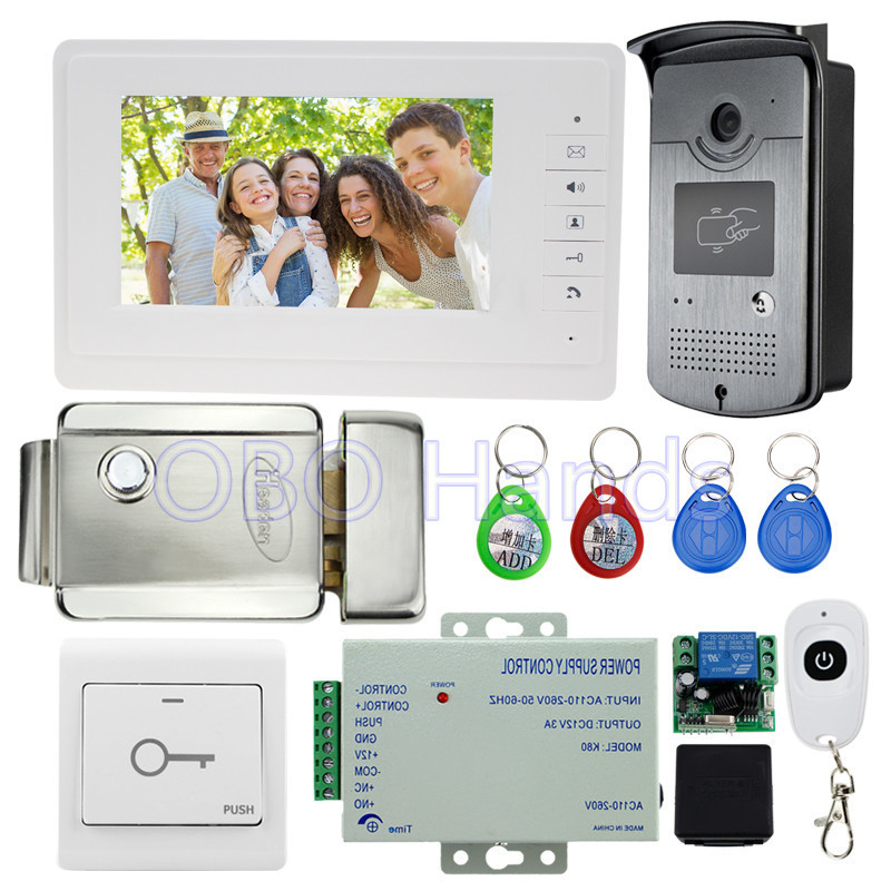 7'' wired video door phone kit set with RFID IR outdoor camera video doorbell+EM lock+power supply for intercom system on sale