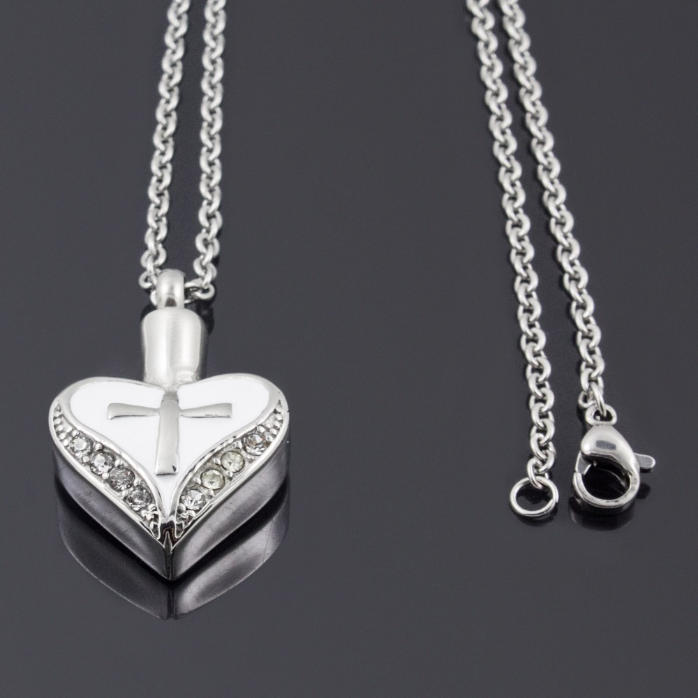 Cross On White Heart Cremation Jewelry Keepsake Pendant Memorial Urn Necklace Free Shipping