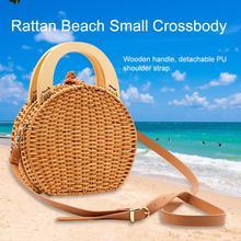 Hand Woven Bag Round Bag Buckle Rattan Straw Bags Satchel Wind Bohemia Beach Circle Bag For Travel Vacation Beach