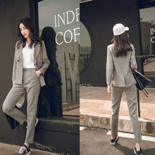 Office work suit casual long-sleeved suit suit female Slim long sleeve suit jacket set Women's pants suit 2019 autumn new недорого