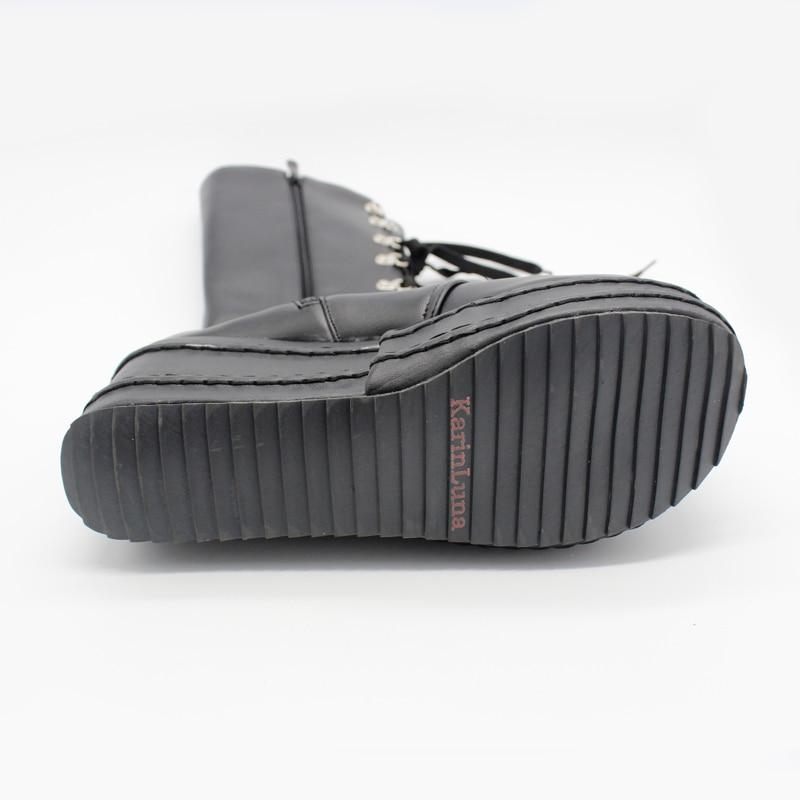 KarinLuna/Большие размеры 31-49; модные ботинки для костюмированной вечеринки в стиле панк; женская обувь; зимняя обувь на танкетке; женские сапоги до колена на высоком каблуке