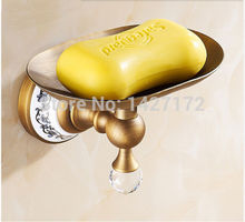 Hot Sale New Bathroom Wall Mounted Classical Ceramic Style Antique Brass Soap Dish Holder