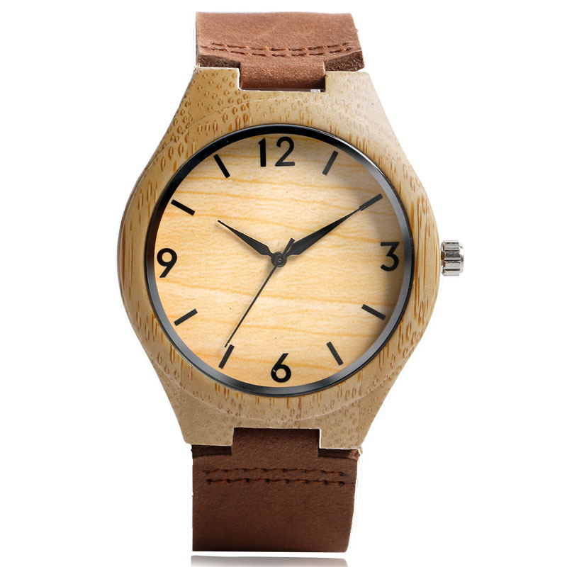Novel Bamboo Genuine Leather Band Strap Ebony Handmade Analog Wrist Watch Fashion Women Men Sport Trendy
