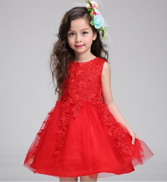 876af64fac353 2017 bébé fille vêtements mariages blanc rose rouge première sainte  dentelle broderie fleur Communion robe petite fille enfants demoiselle  d honneur dans ...