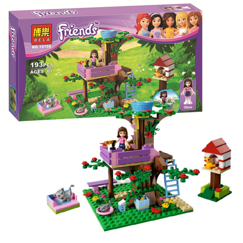 Bela 10158 193Pcs Friends Olivia's Tree House Model Building Kits Blocks Bricks Girl Assembling Toys Compatible with Legoe 3065 a toy a dream 2016 new bela 10537 203pcs friends vet clinic model building kits blocks bricks girl toys gift 41085 lepin