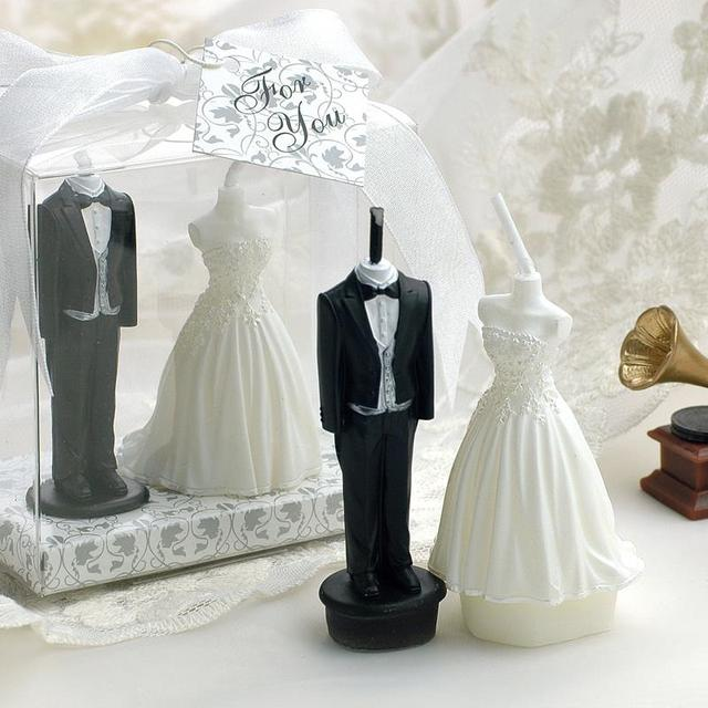 9CM Height Bride Groom Candles In Gift Box Wedding Party