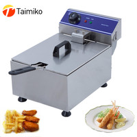 Stainless steel single tank electric deep fryer smokeless french fries chicken steak corn grill multi function mini hotpot oven