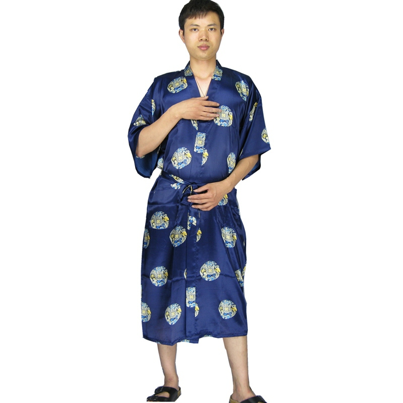 Long Satin Robe Men Bathrobe Kimono Hombre Dressing Gown For Men ...