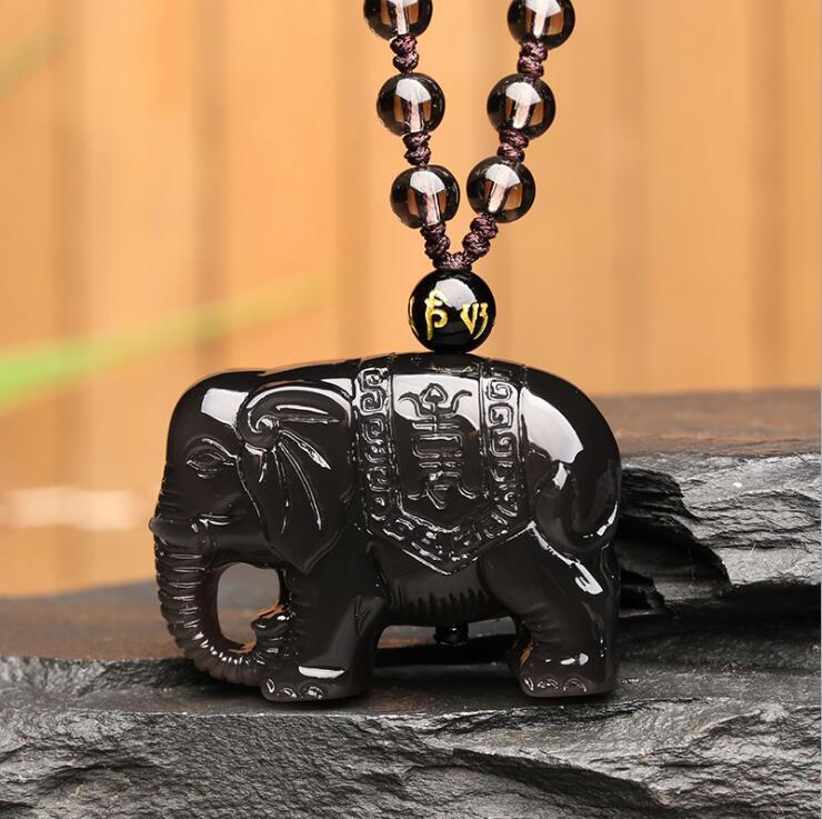 Natural Color Obsidian Hand Carved Lucky Elephant Pendant +Bead necklaceNatural Color Obsidian Hand Carved Lucky Elephant Pendant +Bead necklace