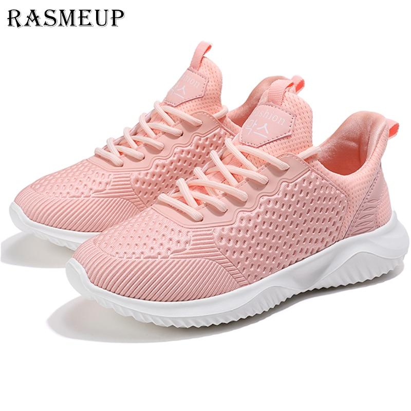 Schuhe Gerade Rasmeup Freizeit Licht Sneaker Frauen Schuhe 2019 Frühling Sommer Leichte Lüften Elastische Tragbare Frau Schuhe Dame Trainer