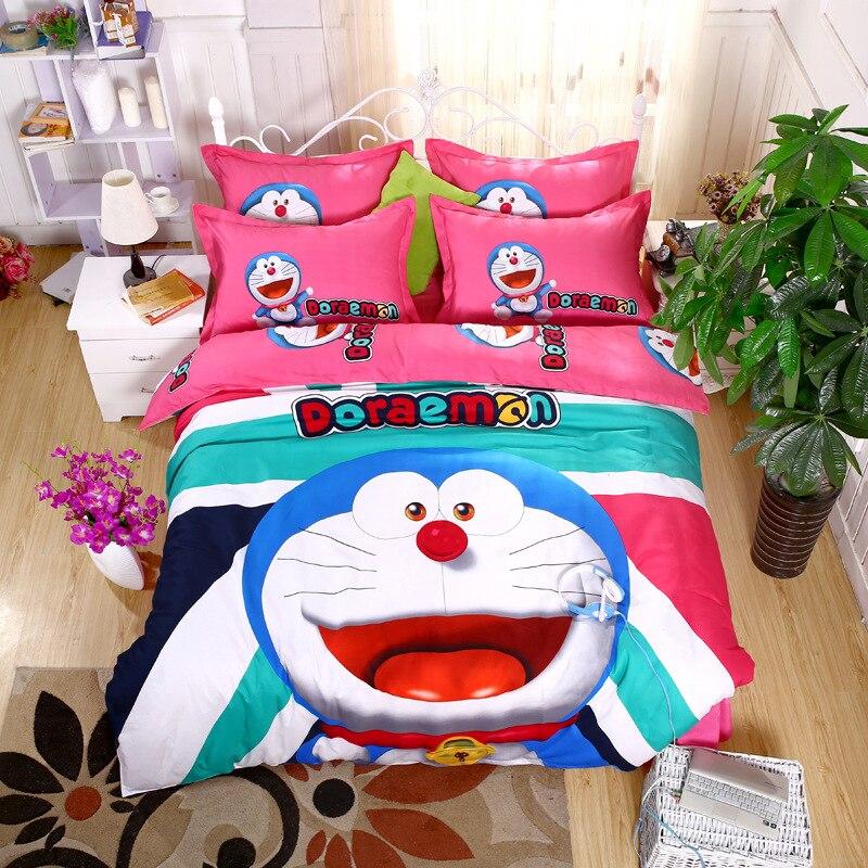 Ensemble de literie de Bande Dessinée Doraemon Kitty épaississement ponçage Garder au chaud 4/3 pcs Housse de Couette Définit la couverture de Polyester Lit Feuille ensemble Taie D'oreiller