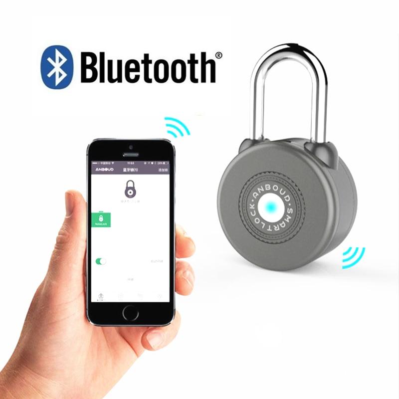 2019 Cadeado Fechadura sans fil cadenas Bluetooth serrure intelligente sans clé télécommande casier métal conception App pour Android/ios