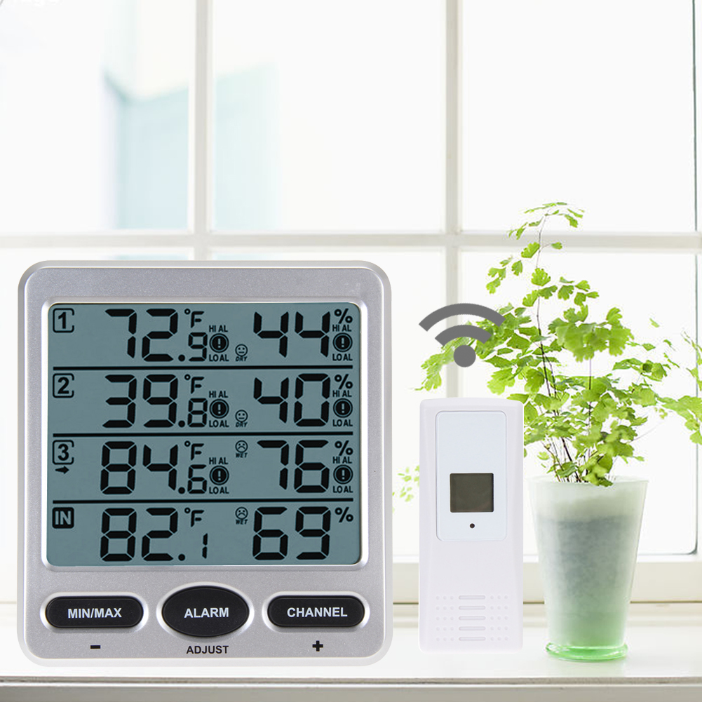 Original WS-10 ambiente tiempo inalámbrico LCD Digital termómetro humedad interior/exterior 8 canal termo higrómetro