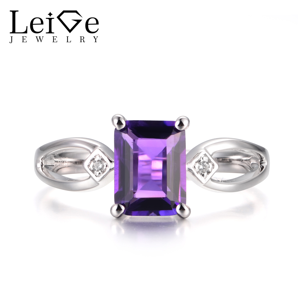 Leige Jewelry Natural Purple Amethyst Rings Wedding Rings February Birthstone 925 Sterling Silver Purple Stone Vintage Rings gqtorch natural purple amethyst rings for women 925 sterling silver jewelry vintage thai silver flower engraved anelli argento