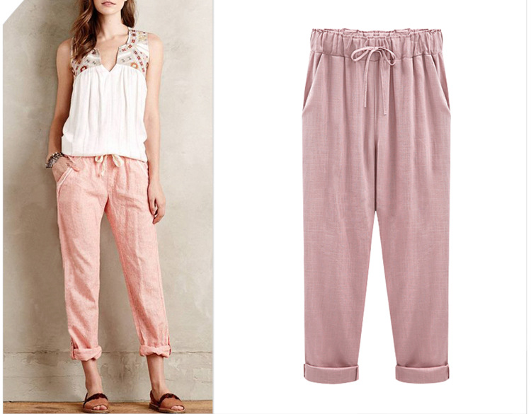 18 Wide Leg Pants Harem Pant Female Trousers Casual Spring Summer Loose Cotton Linen Overalls Pants Plus Size Candy Color 9