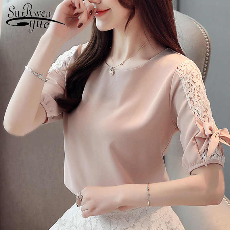 Fashion women tops and blouses 2019 ladies tops white blouse shirts lace blouse shirts short sleeve bow women shirt 4140 50