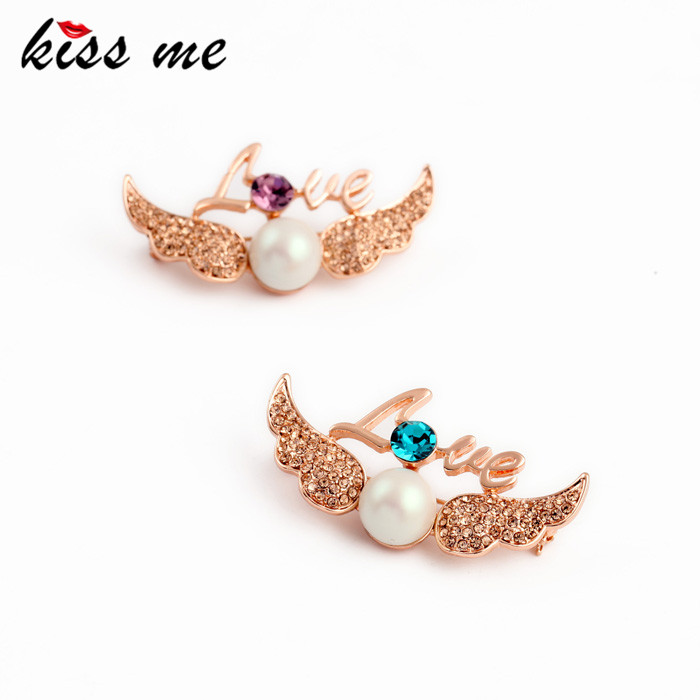 Exquisite Sparkling Rose Gold Color Wings LOVE Brooch KISS ME