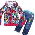 POKEMON дети джинсовые комбинезоны джинсы брюки + куртка комплект одежды новорожденных девочек досуг мультфильм одежды костюм детская одежда набор