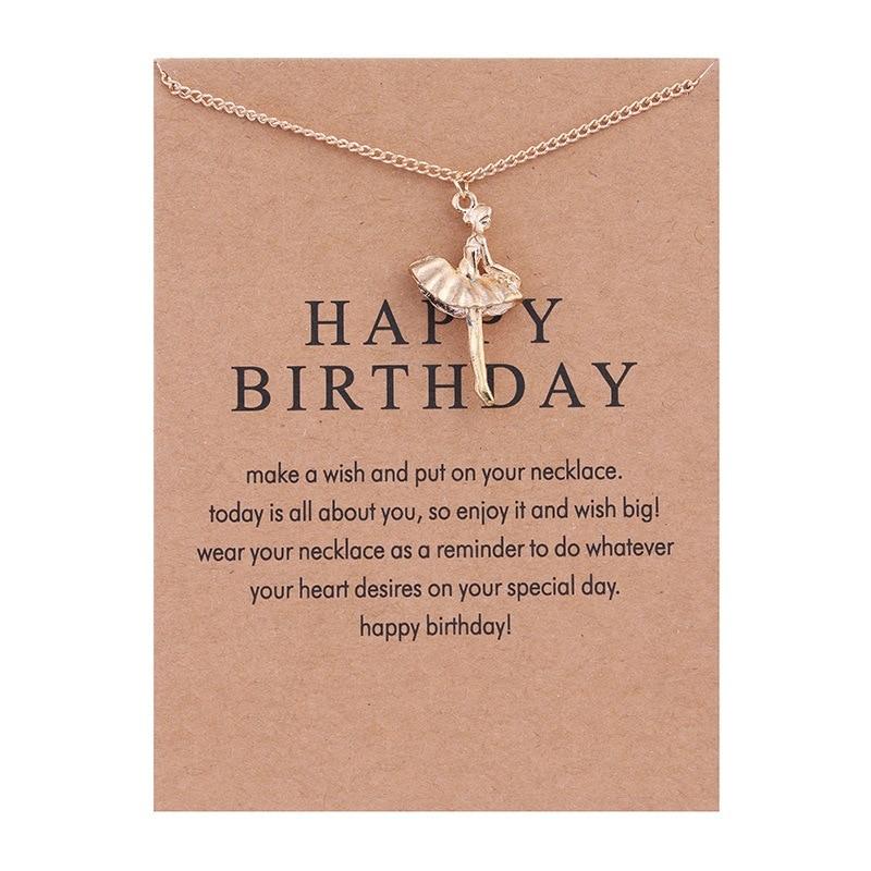 New Golden Plated Happy Birthday Ballet Girl Alloy Clavicle Bones Pendant Short Necklace