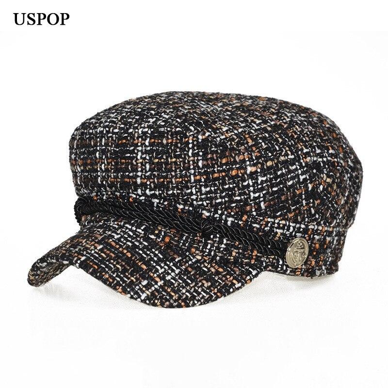 USPOP 2018 Novo chapéu de inverno mulheres moda quente tweed xadrez ... 5d875fdd050