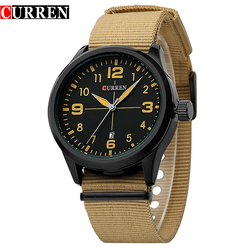 New 2017 Curren Top Brand Luxury Quartz Men s Watches With Colorful Nylon Straps For Leisure