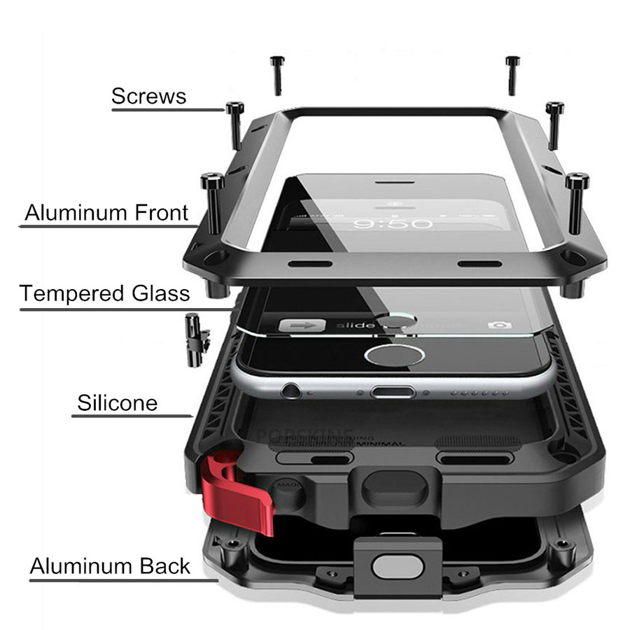 Heavy Duty Custodia di Protezione per iPhone 7 6 6 s Più 5 5 s SE Copertura di Alluminio del Metallo Antiurto Armatura Casse Del Telefono + Pellicola di Schermo di Vetro