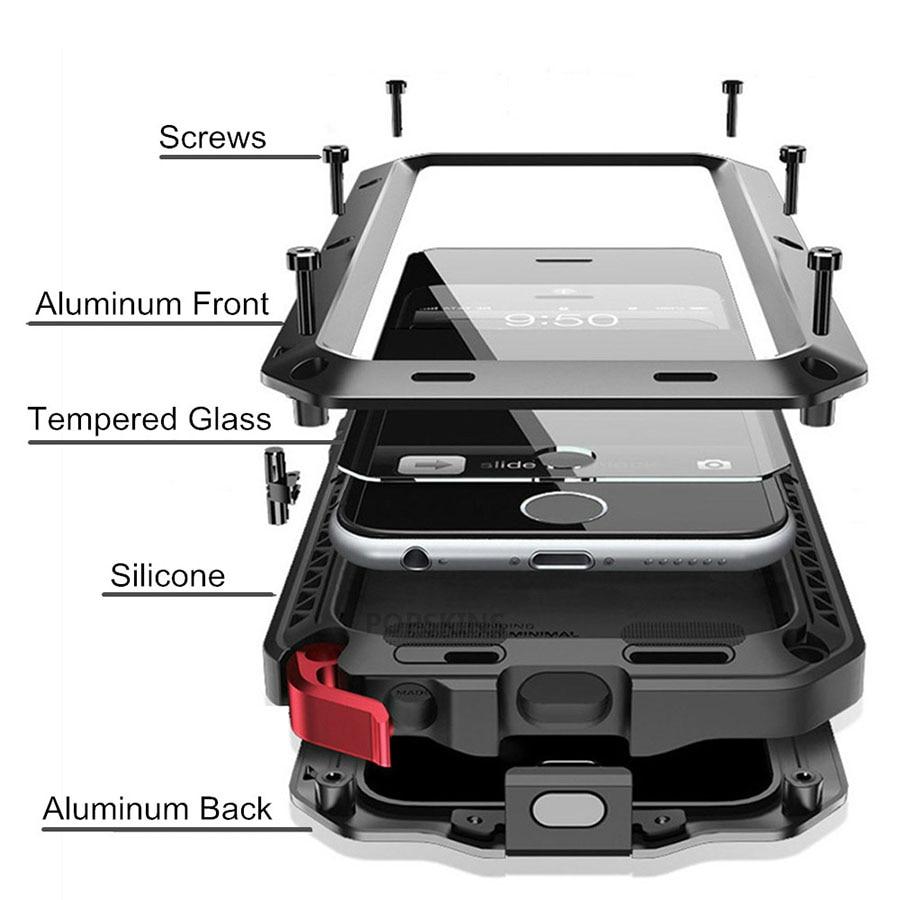 Protection Robuste pour iPhone 7 6 6 s Plus 5 5S SE Housse En Aluminium En Métal Antichoc Téléphone cas + Film D'écran En Verre